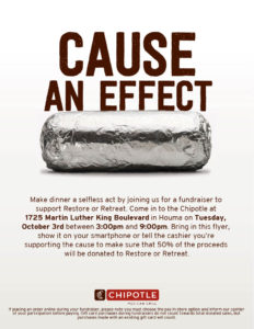 Chipotle Fundraiser for ROR on Tuesday, October 3